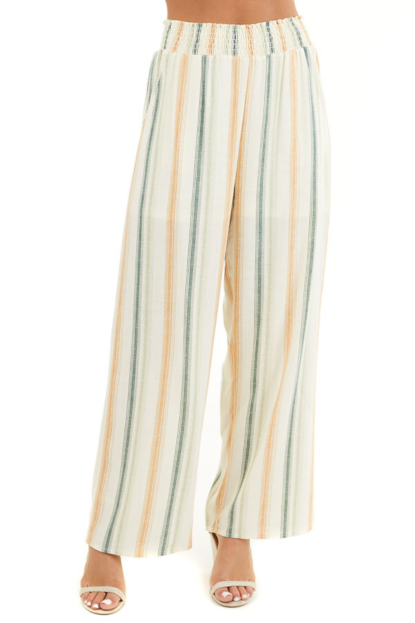 Cream Striped Wide Leg Pants with Smocked Waist and Pockets front view