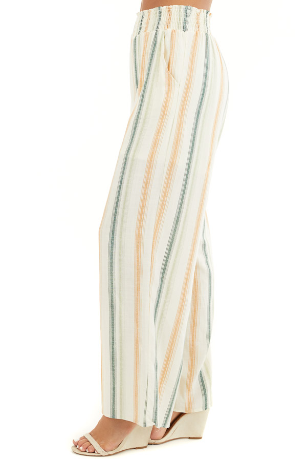 Cream Striped Wide Leg Pants with Smocked Waist and Pockets side view