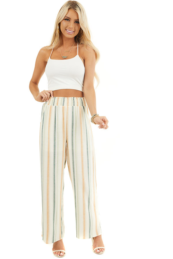 Cream Striped Wide Leg Pants with Smocked Waist and Pockets front full body