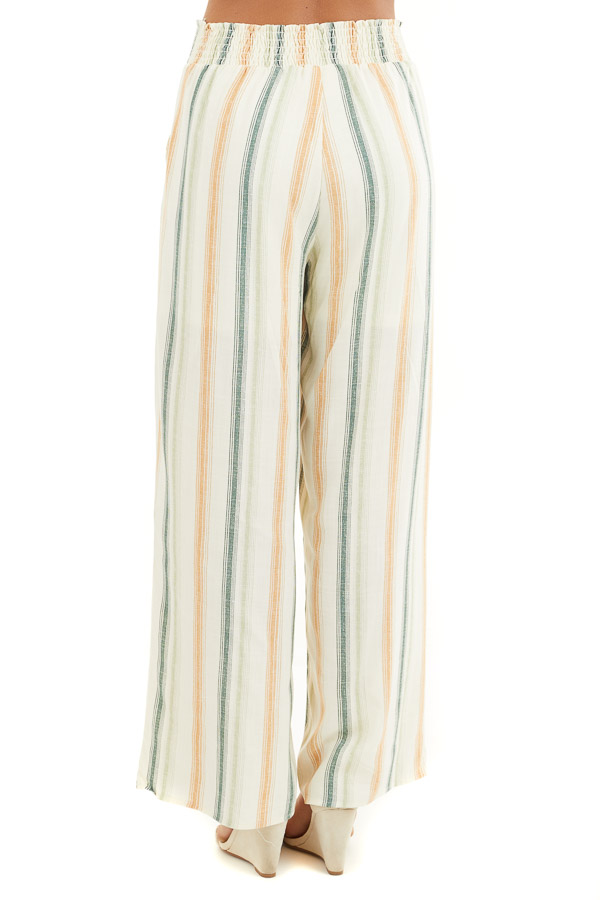 Cream Striped Wide Leg Pants with Smocked Waist and Pockets back view