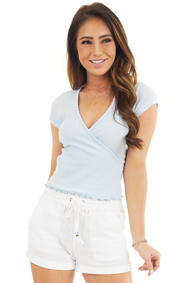 Baby Blue Short Sleeve Smocked Surplice Crop Top front close up