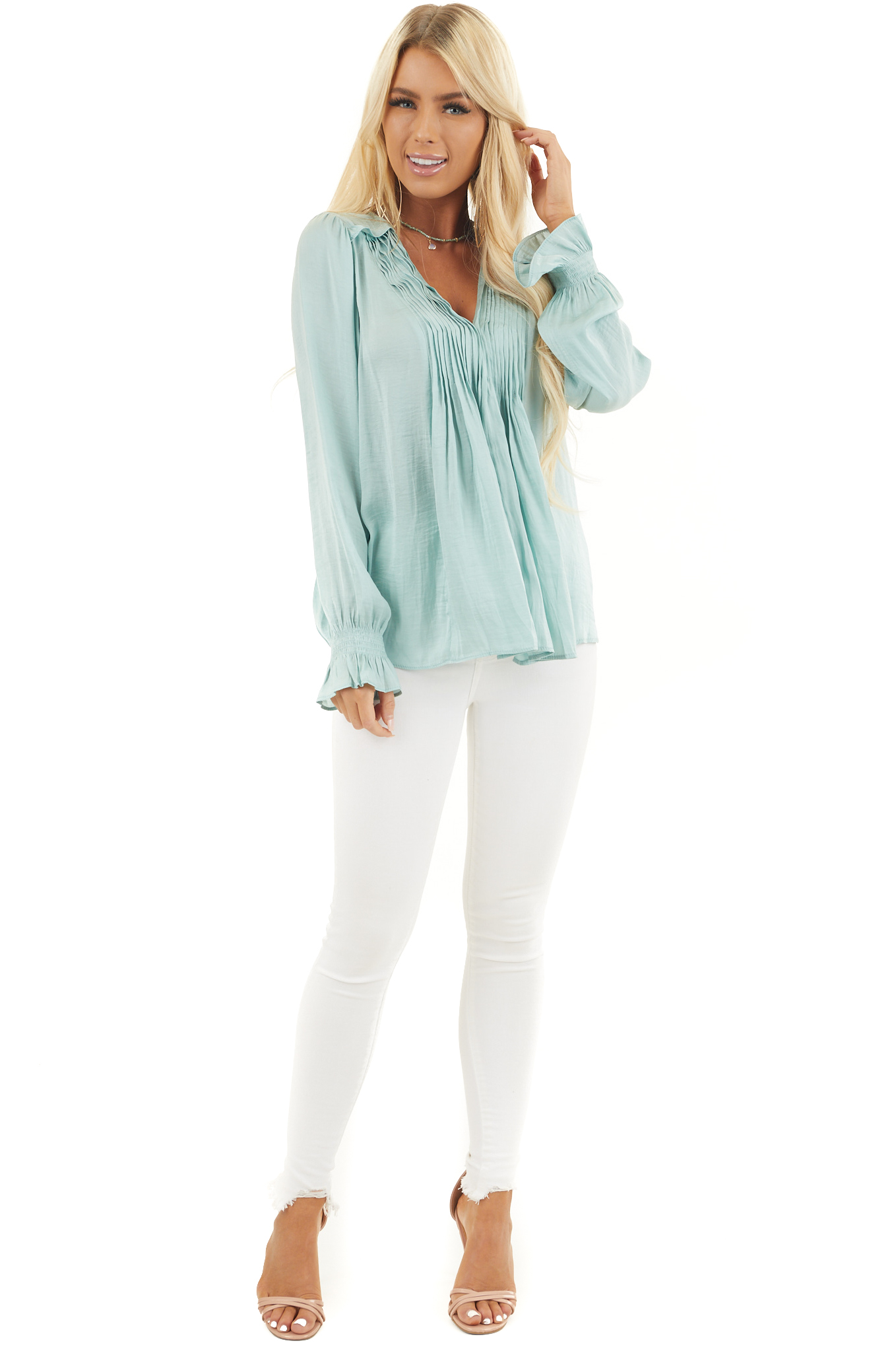 Sage Long Sleeve Pleated Satin Top with V Neckline