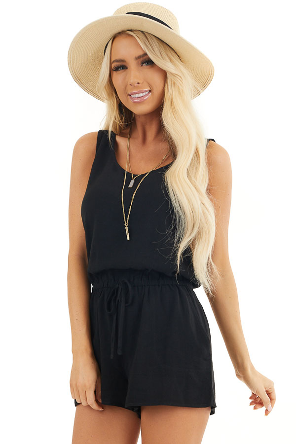 Black Sleeveless Romper with Elastic Waist and Pockets front close up