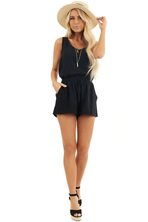 Black Sleeveless Romper with Elastic Waist and Pockets front full body