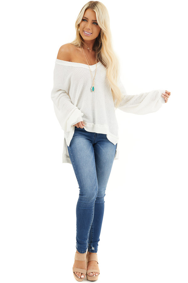 Ivory Long Sleeve V Neck Knit Top with Side Slits front full body