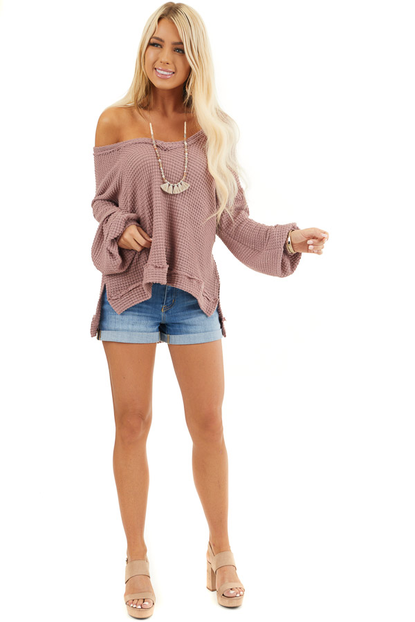 Mauve Long Sleeve V Neck Knit Top with Side Slits front full body