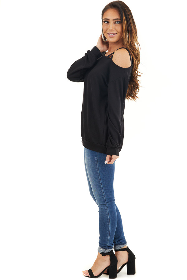 Black Long Sleeve Knit Top with One Strappy Cold Shoulder side full body