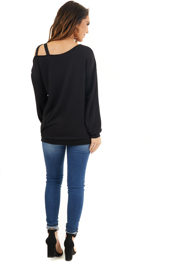 Black Long Sleeve Knit Top with One Strappy Cold Shoulder back full body