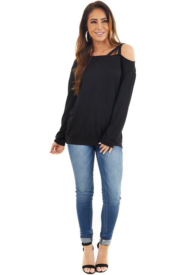 Black Long Sleeve Knit Top with One Strappy Cold Shoulder front full body