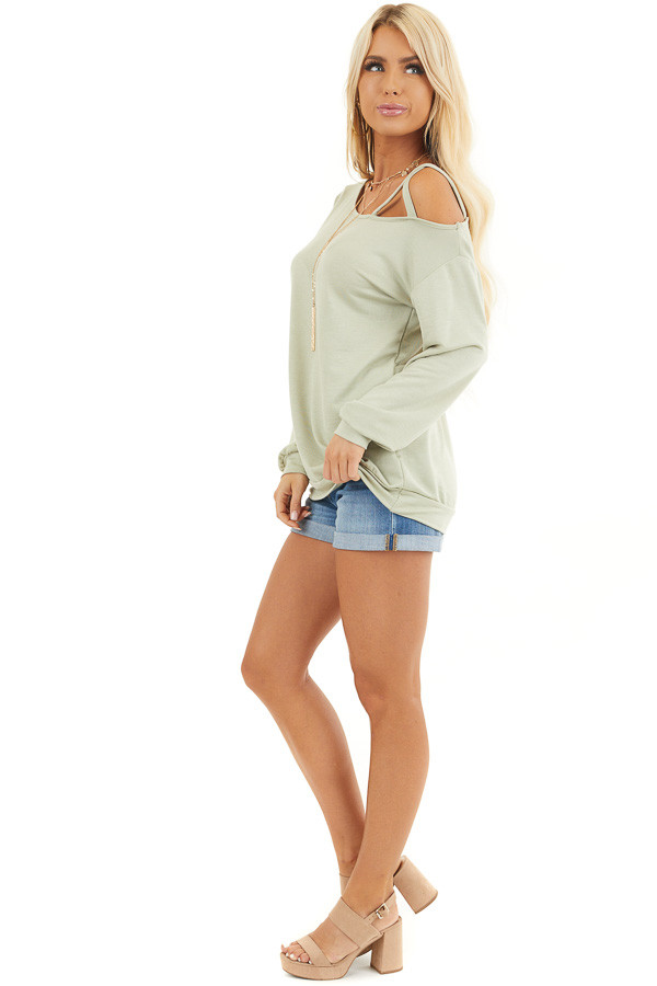 Sage Long Sleeve Knit Top with One Strappy Cold Shoulder side full body