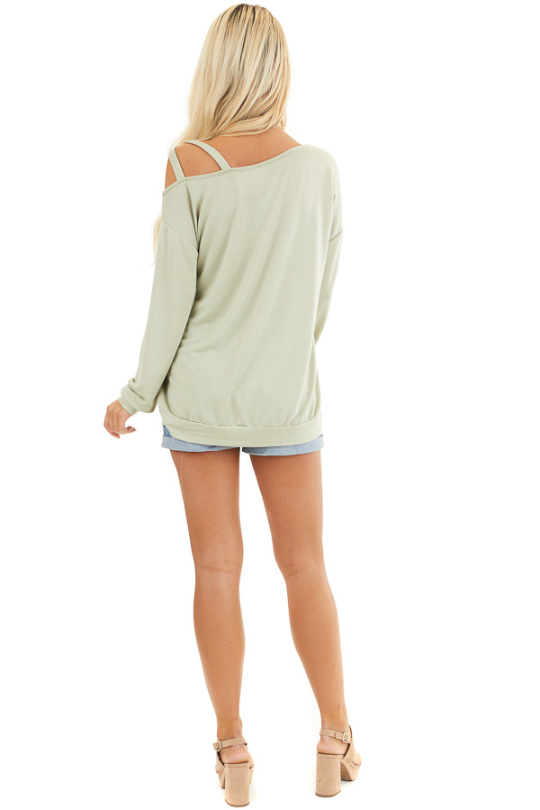 Sage Long Sleeve Knit Top with One Strappy Cold Shoulder back full body