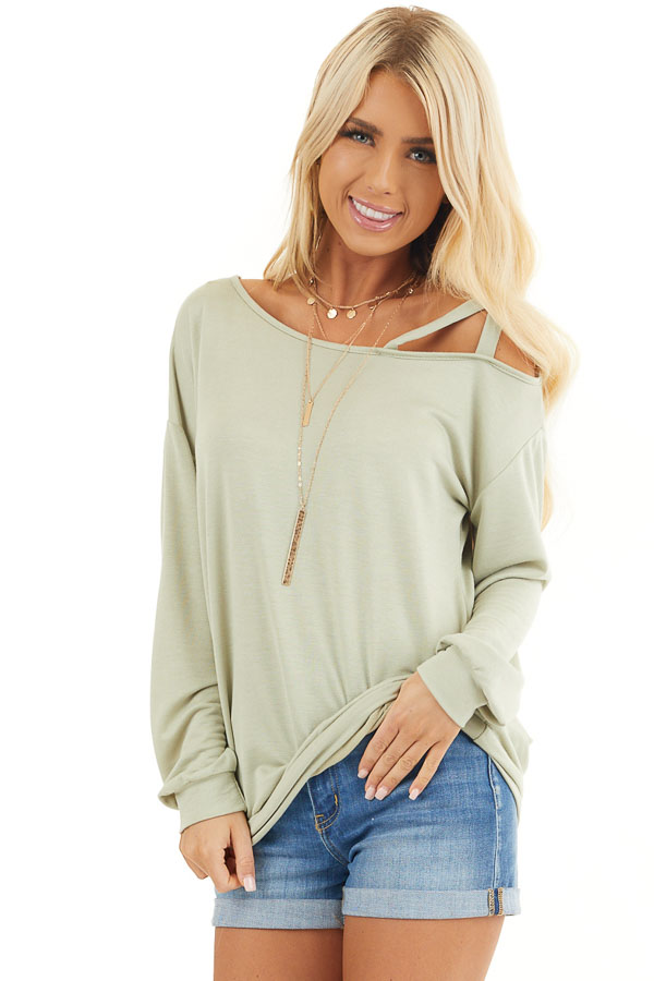 Sage Long Sleeve Knit Top with One Strappy Cold Shoulder front close up