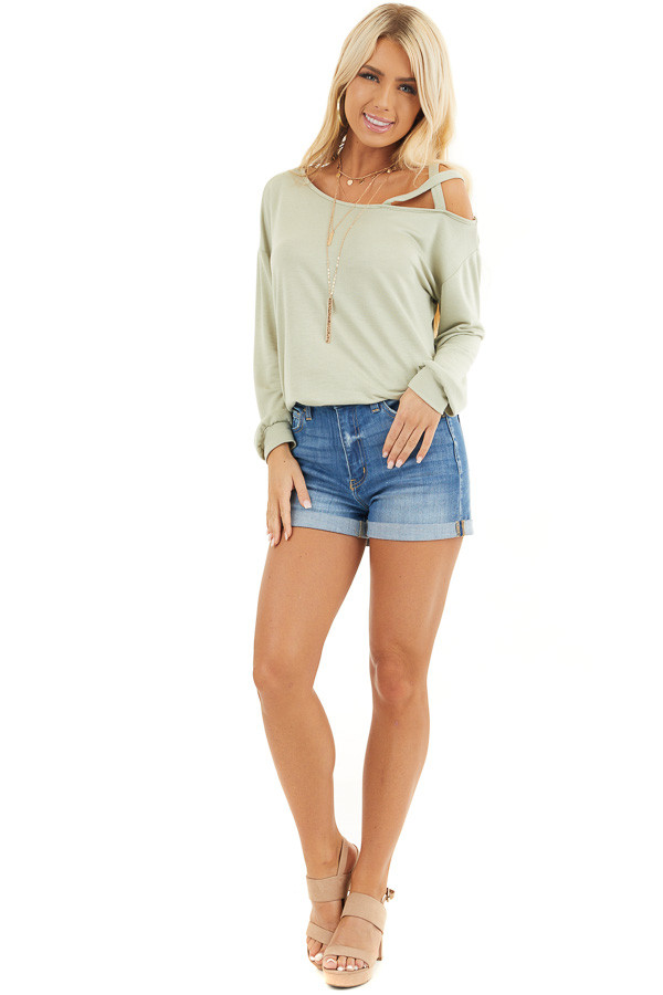 Sage Long Sleeve Knit Top with One Strappy Cold Shoulder front full body