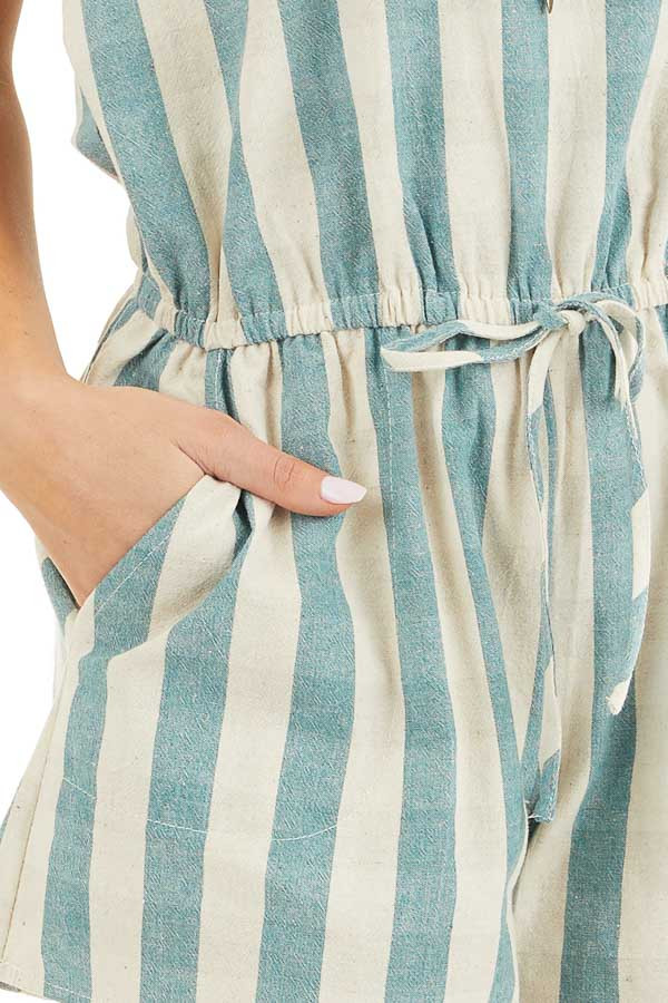 Dusty Teal and Cream Striped Sleeveless Romper with Pockets detail