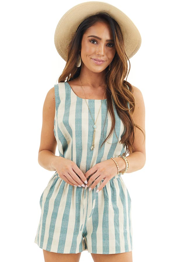 Dusty Teal and Cream Striped Sleeveless Romper with Pockets front close up