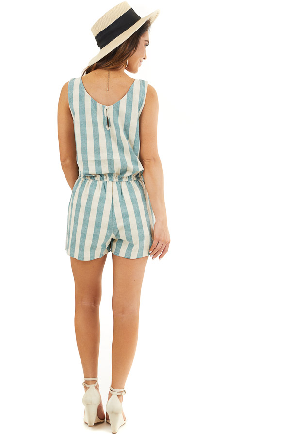 Dusty Teal and Cream Striped Sleeveless Romper with Pockets back full body