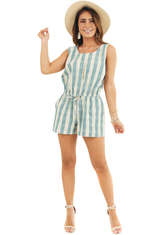 Dusty Teal and Cream Striped Sleeveless Romper with Pockets front full body
