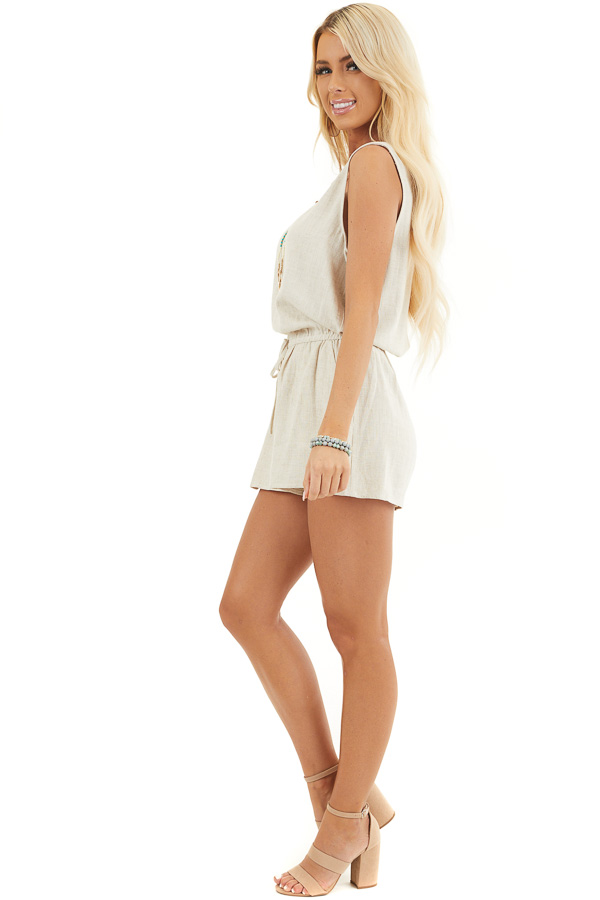 Oatmeal Sleeveless Romper with Elastic Waist and Pockets side full body