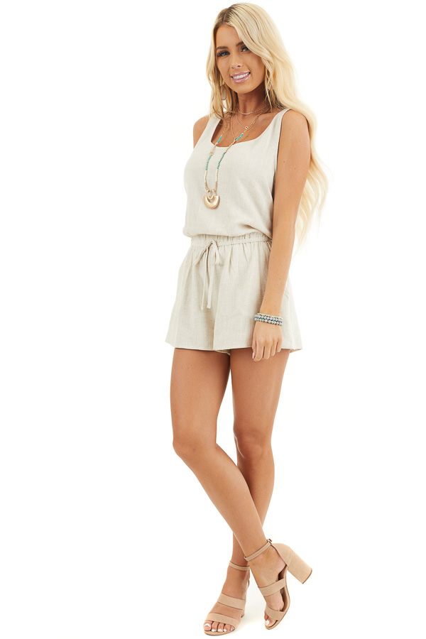 Oatmeal Sleeveless Romper with Elastic Waist and Pockets front full body