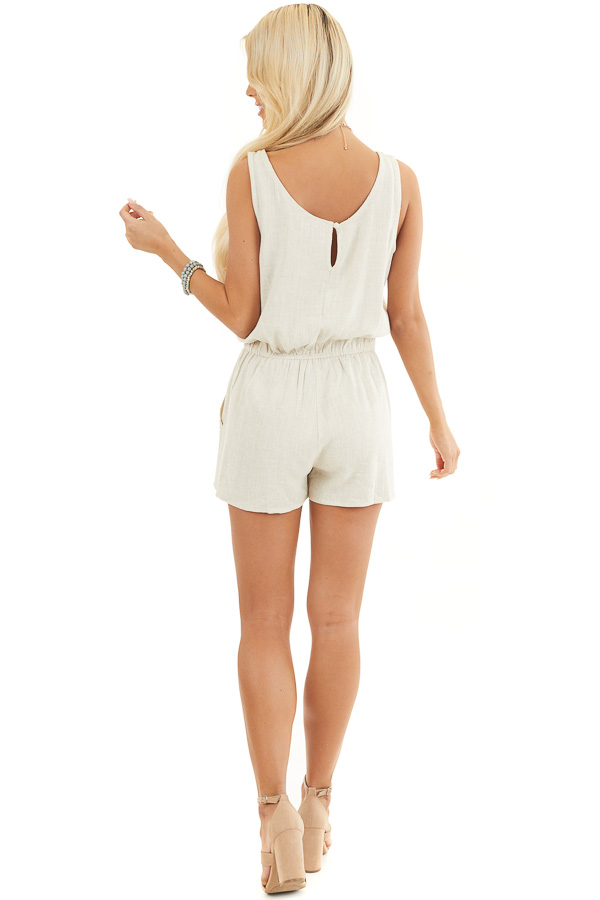 Oatmeal Sleeveless Romper with Elastic Waist and Pockets back full body