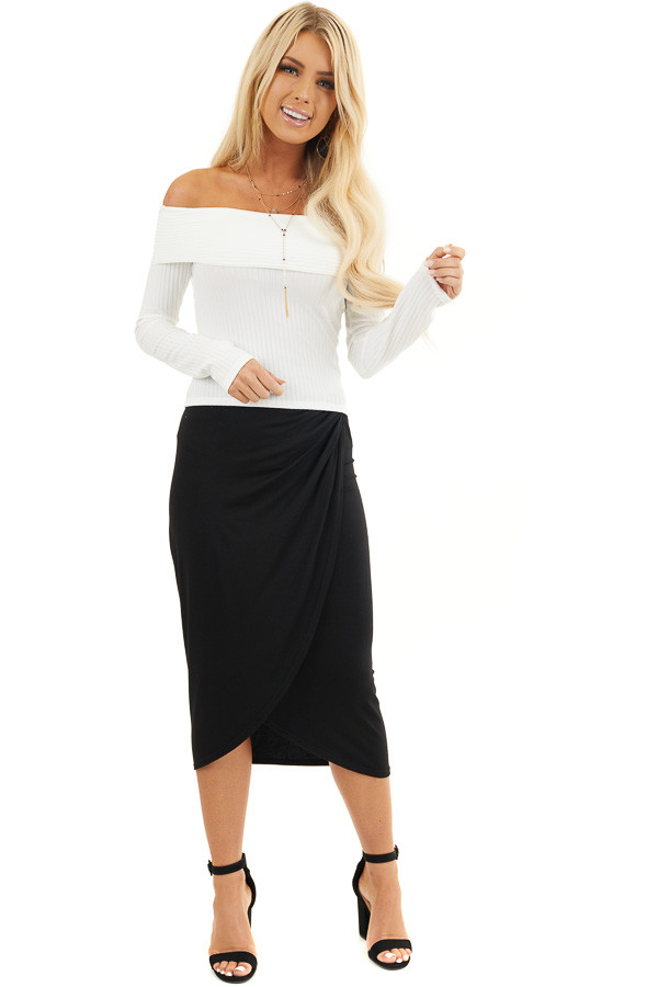 White Ribbed Off the Shoulder Long Sleeve Knit Top front full body
