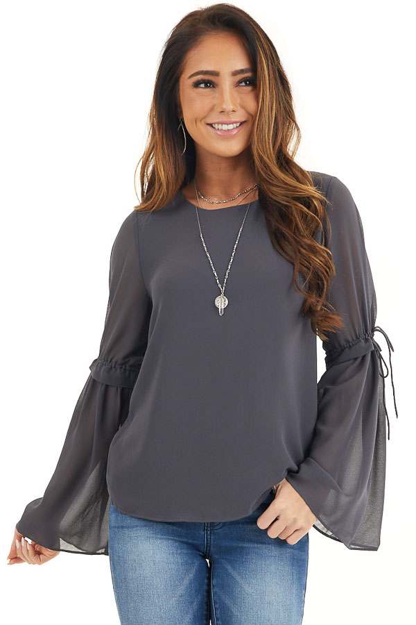 Charcoal Long Sleeve Blouse with Drawstring Elbow Detail front close up