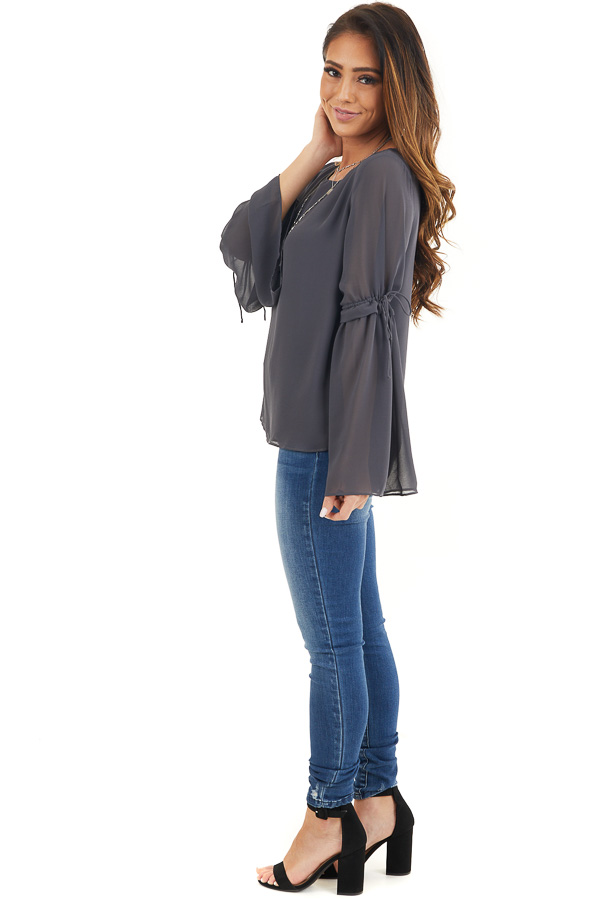 Charcoal Long Sleeve Blouse with Drawstring Elbow Detail side full body