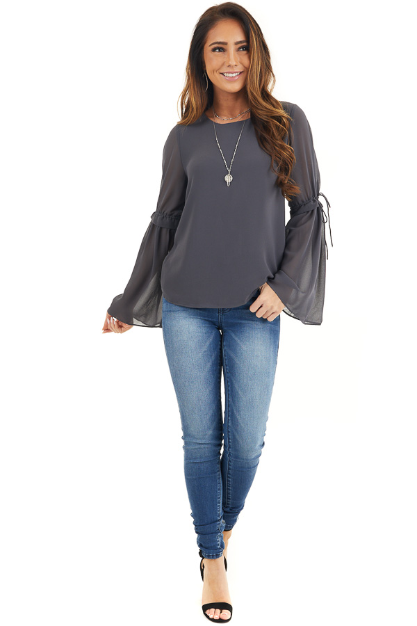 Charcoal Long Sleeve Blouse with Drawstring Elbow Detail front full body
