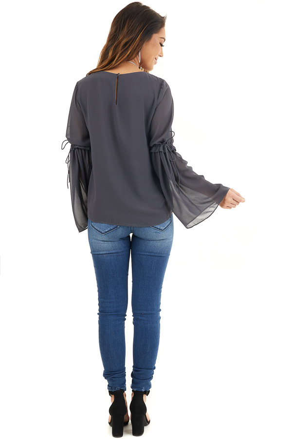 Charcoal Long Sleeve Blouse with Drawstring Elbow Detail back full body