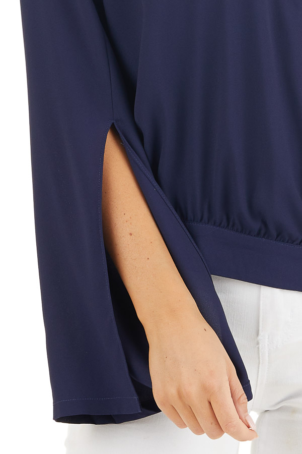 Navy Blue Long Sleeve Wrap Blouse with Side Tie detail