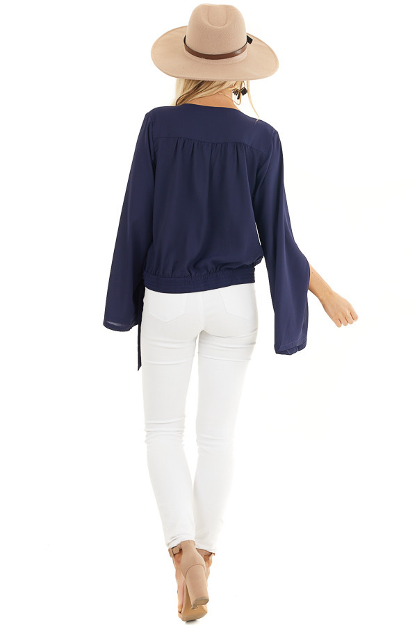 Navy Blue Long Sleeve Wrap Blouse with Side Tie back full body