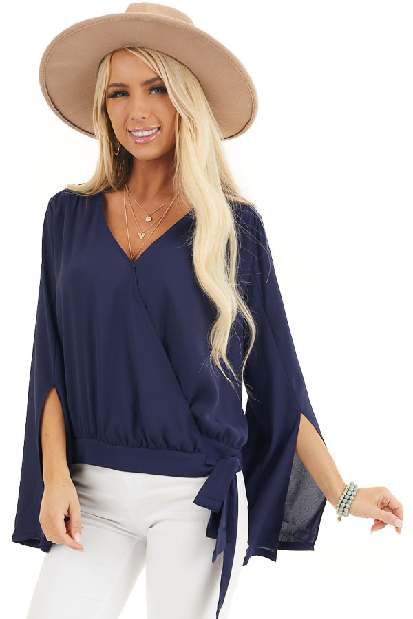 Navy Blue Long Sleeve Wrap Blouse with Side Tie front close up