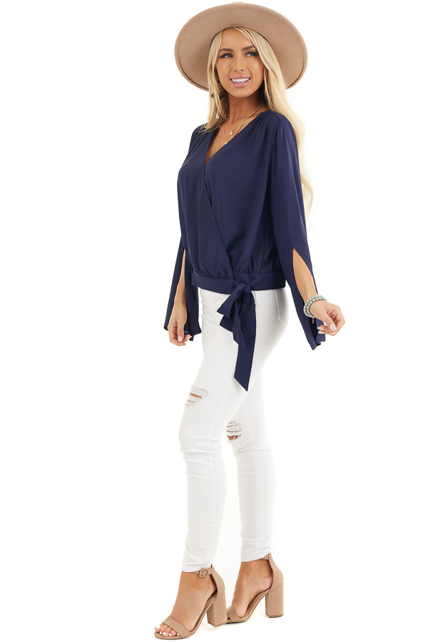 Navy Blue Long Sleeve Wrap Blouse with Side Tie side full body