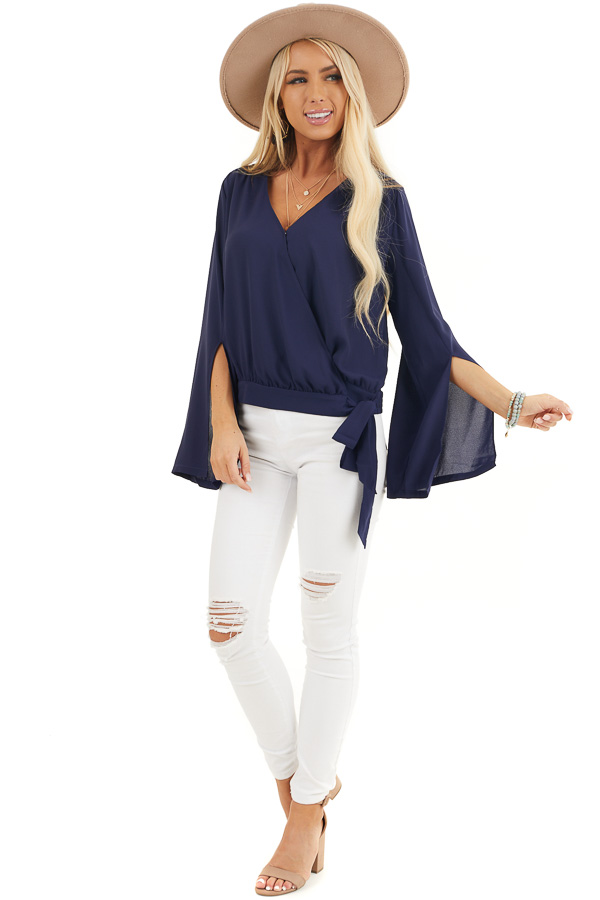 Navy Blue Long Sleeve Wrap Blouse with Side Tie front full body