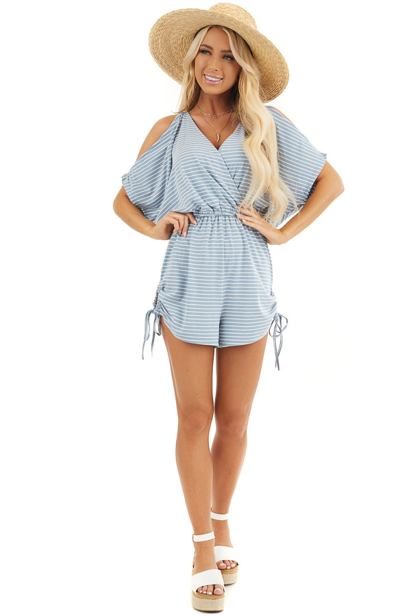 Slate Blue and White Striped Knit Romper with Drawstring front full body