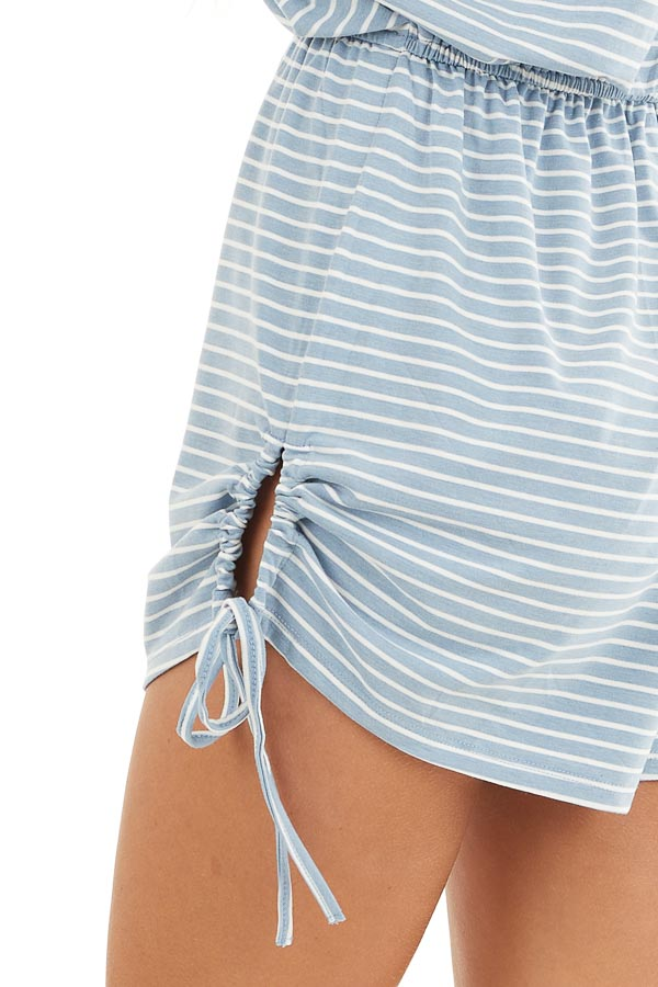 Slate Blue and White Striped Knit Romper with Drawstring detail