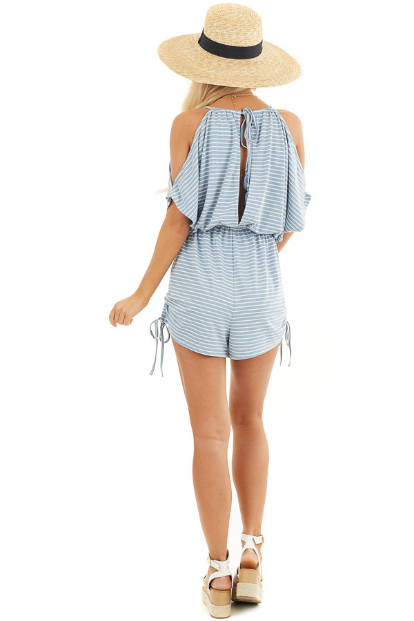 Slate Blue and White Striped Knit Romper with Drawstring back full body