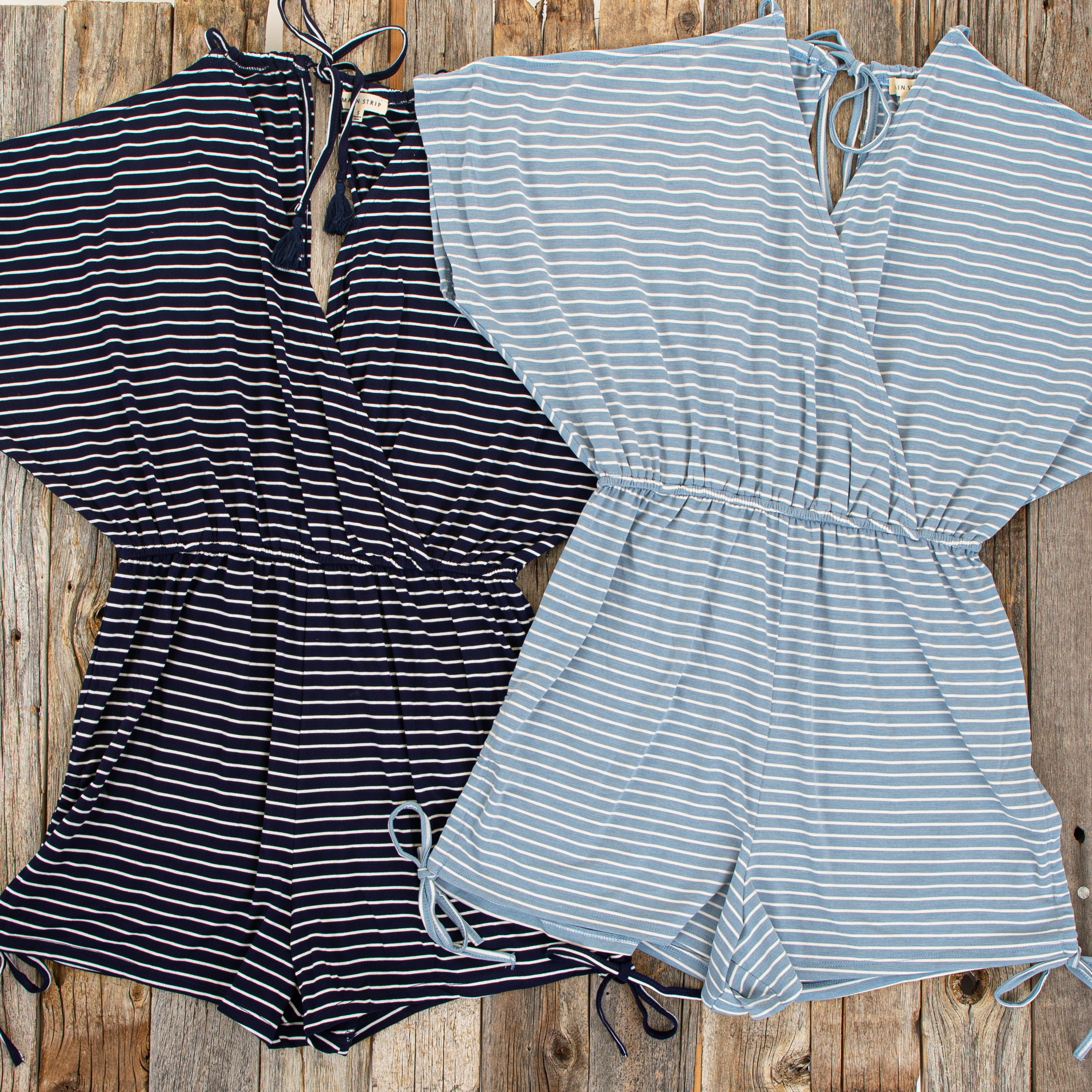 Slate Blue and White Striped Knit Romper with Drawstring