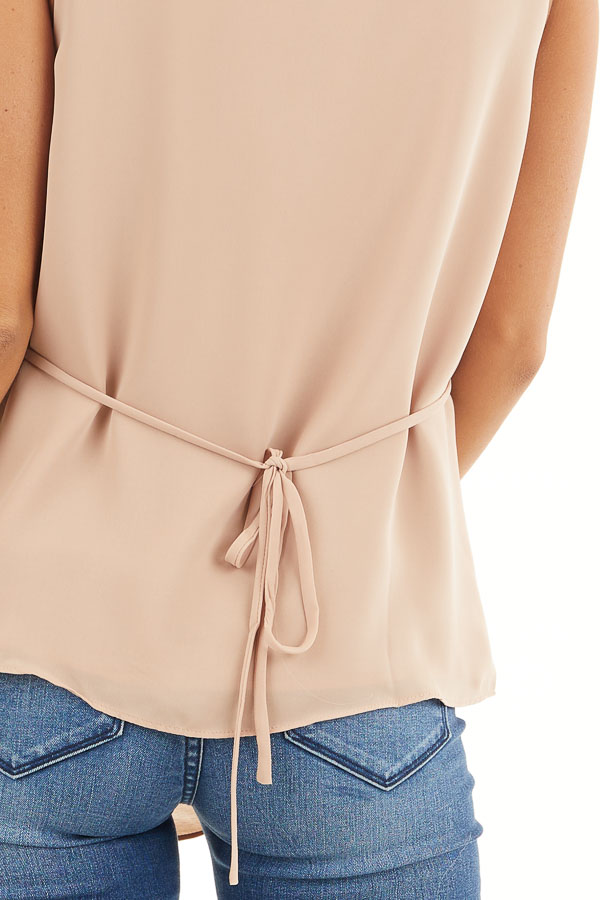 Beige Draped Surplice Sleeveless Blouse with V Neckline detail