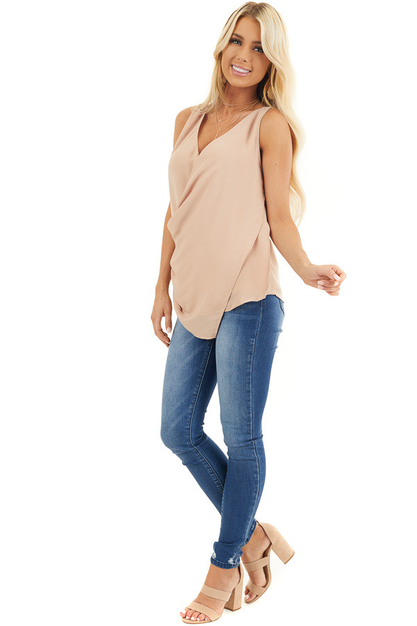 Beige Draped Surplice Sleeveless Blouse with V Neckline front full body