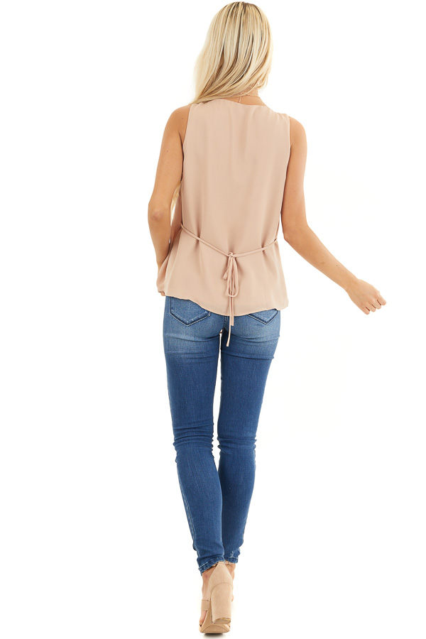 Beige Draped Surplice Sleeveless Blouse with V Neckline back full body