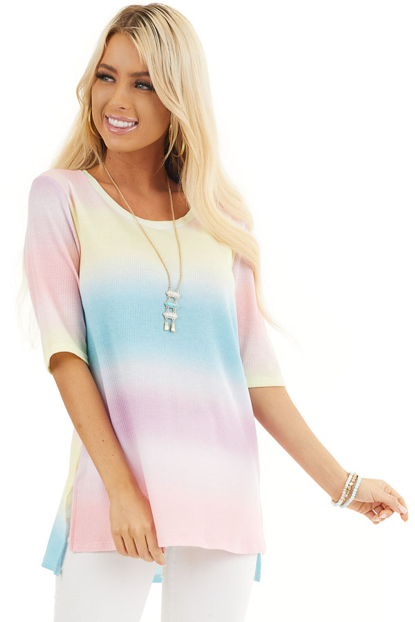 Rainbow Ombre Striped Short Sleeve Waffle Knit Tee front close up