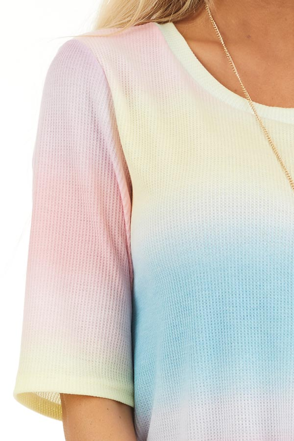 Rainbow Ombre Striped Short Sleeve Waffle Knit Tee detail