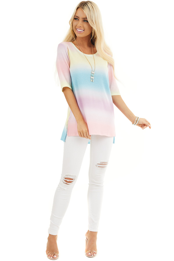 Rainbow Ombre Striped Short Sleeve Waffle Knit Tee front full body