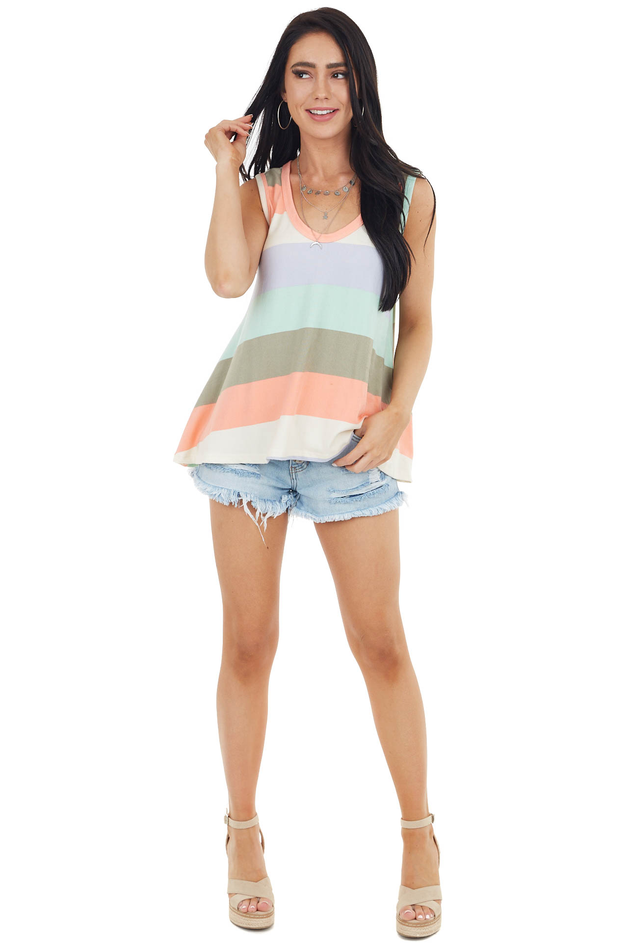 Mint and Olive Multicolor Striped Trapeze Tank Top