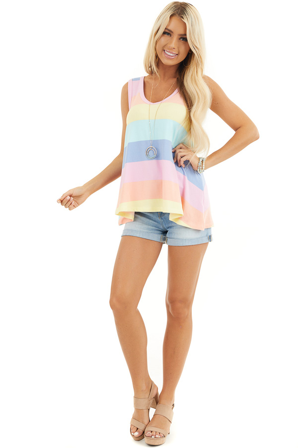 Aqua and Pink Multicolor Striped Trapeze Tank Top front full body