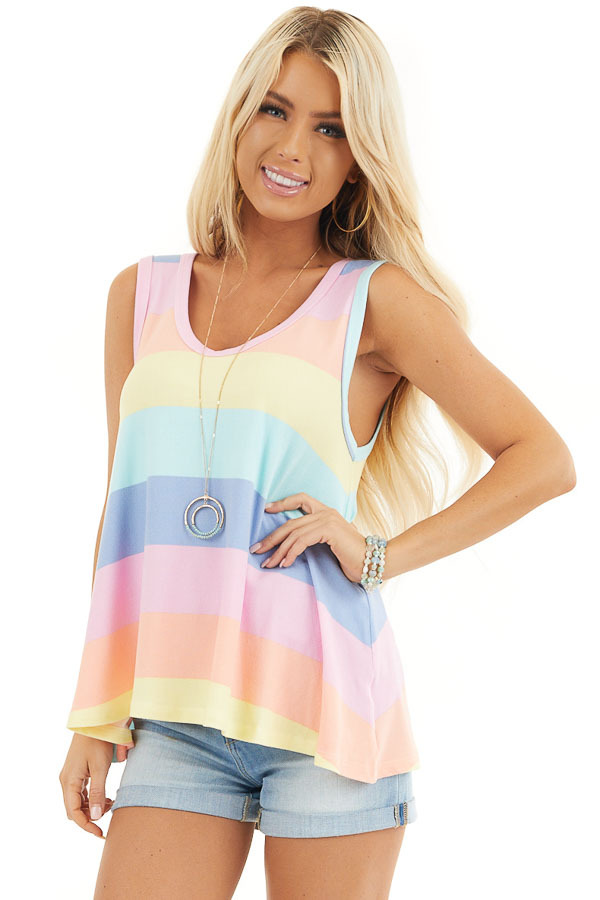Aqua and Pink Multicolor Striped Trapeze Tank Top front close up