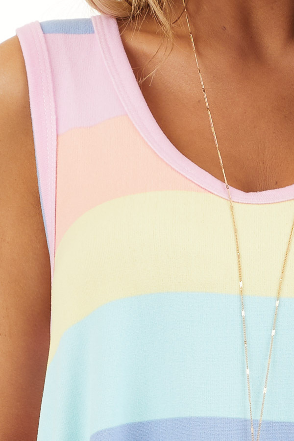 Aqua and Pink Multicolor Striped Trapeze Tank Top detail