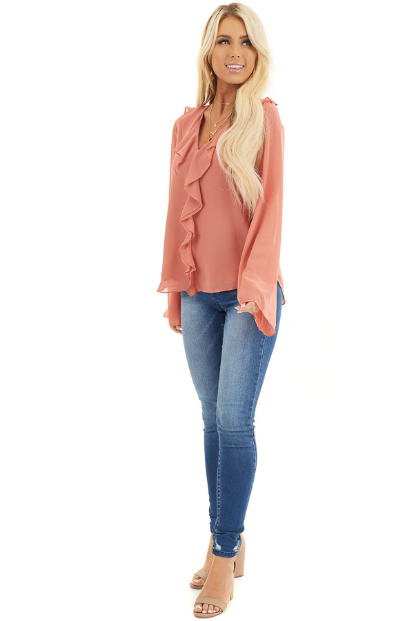 Terracotta Long Flare Sleeve Blouse with Ruffle Details front full body