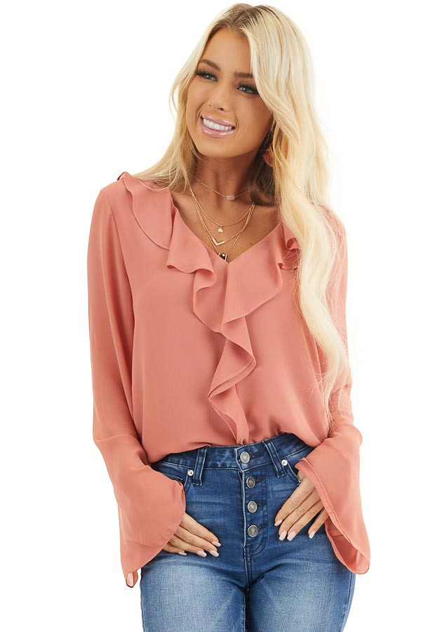 Terracotta Long Flare Sleeve Blouse with Ruffle Details front close up